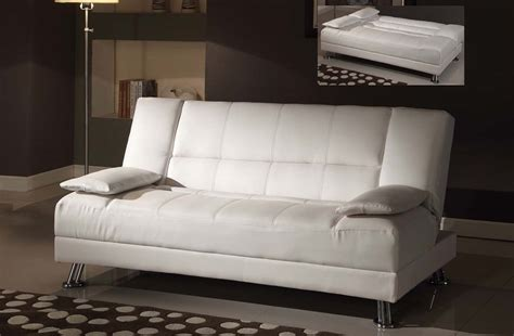 White Leather Futon Sofa Bed Fae White Bycast Leather Adjustable Futon Sofa Bed
