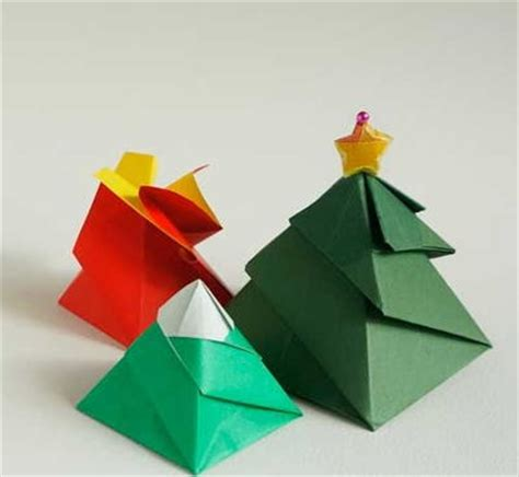 christmas tree origami gift box allfreepapercrafts com