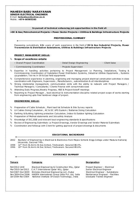 electrical maintenance engineer resume sles mbn cv senior electrical engineer