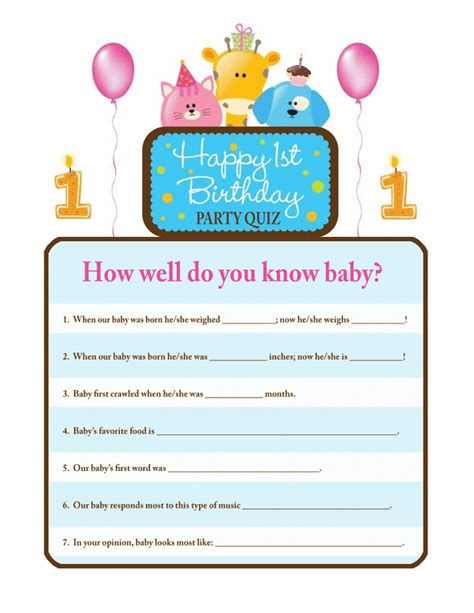 birthday themes quiz first birthday quiz free printable coloring pages