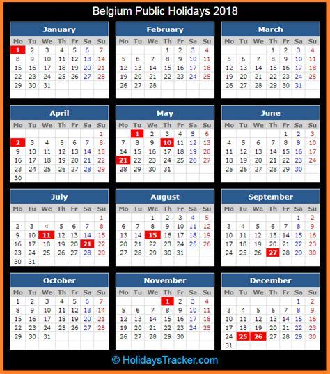 Calendar 2018 Belgium Belgium Holidays 2018 Holidays Tracker