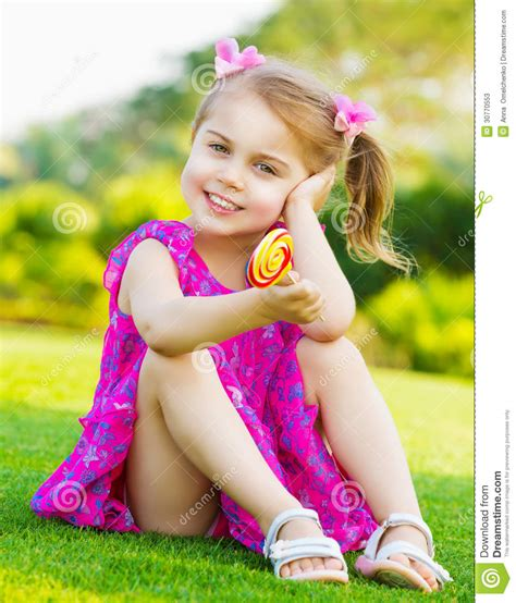very young children girls little girl with lollipop stock image image of little