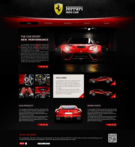 Ferrari Indo Car Web Template Design On Behance Car Website Design Templates