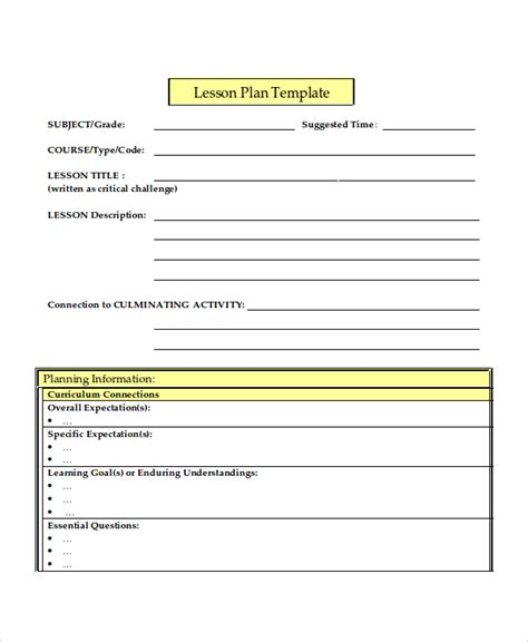 lesson plan template word middle school lesson plan template word education world