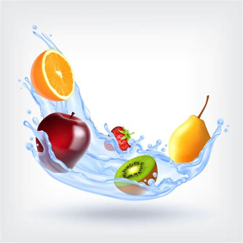 fruit 02 water fruit with water splashes vector 02 vector food free