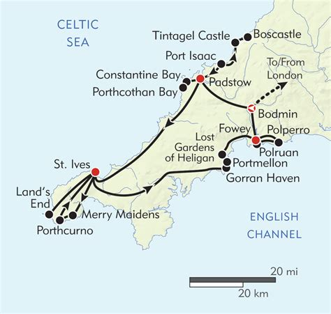 cornwall map hiking in cornwall itinerary map wilderness travel