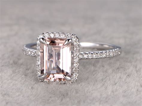 emerald cut morganite engagement ring wedding band