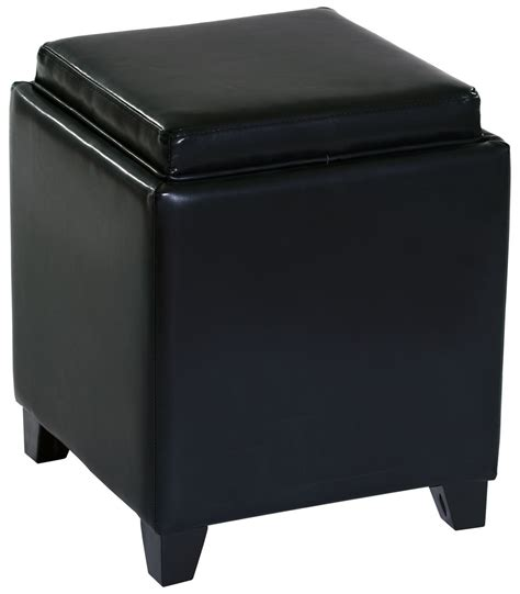 Black Leather Ottoman With Storage Rainbow Black Bonded Leather Storage Ottoman With Tray Lc530otlebl Armen Living