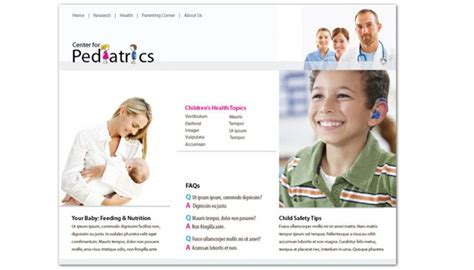 Website Template For Medical Pediatric Office Order Custom Website Design Free Pediatric Brochure Templates