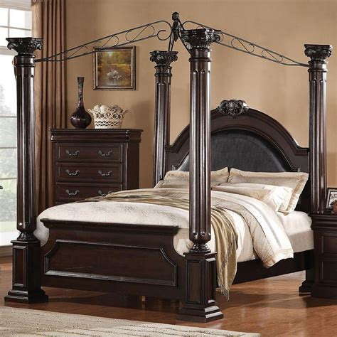 canopy bedroom sets queen acme furniture roman empire 21340q queen canopy bed del