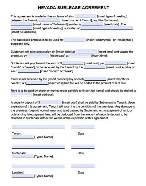 sub tenancy agreement template free nevada sublease agreement form pdf template