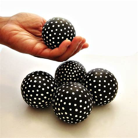 Handmade Balls - black and white handmade papier mache accent balls set of