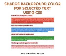 css change text color change background color for selected text using css3