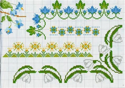 ricamare fiori bordi da ricamare con fiori bianchi e azzurri
