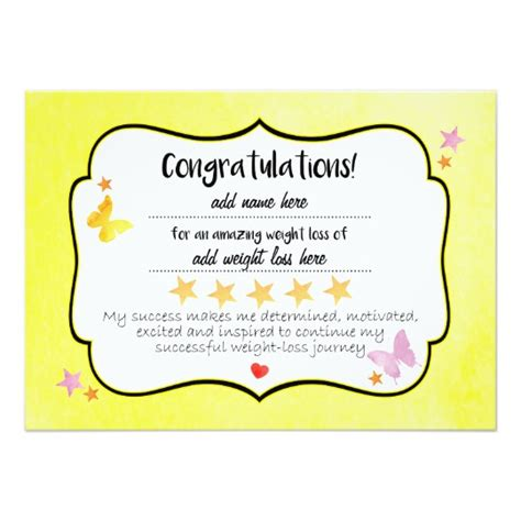 weight loss certificate template slimming club success weight loss certificate card