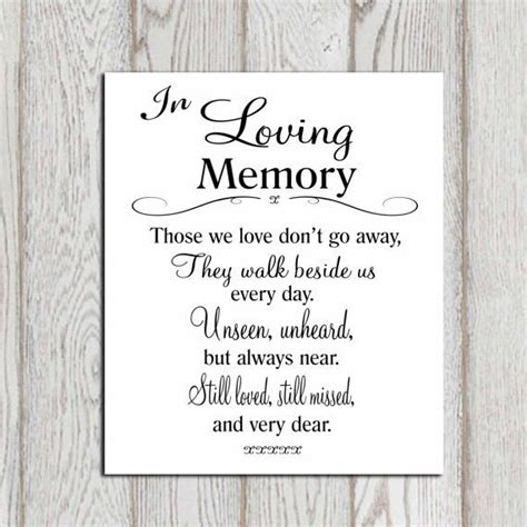memory poem template in loving memory printable memorial table wedding by