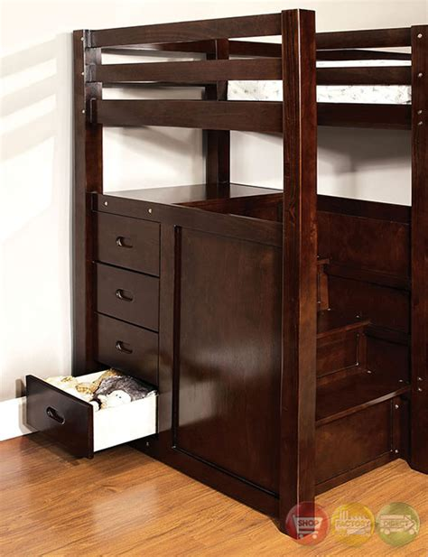 Bed With Built In Drawers by Pineridge Walnut Bunk Bed With Built In Steps And