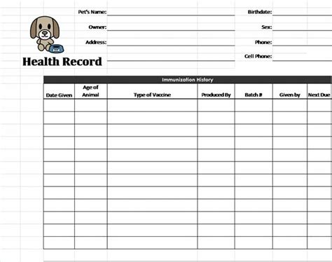 record card template pet health record template pet care pets