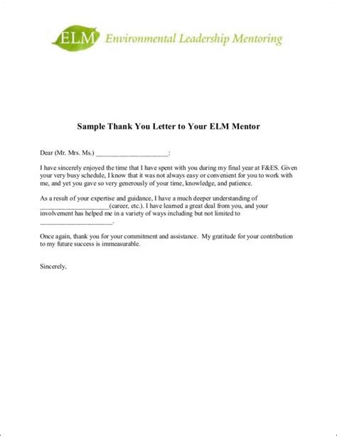 thank you letter sle mentor 9 sle thank you letter templates to free pdf