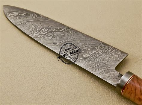 damascus kitchen knives damascus chef knife custom handmade damascus steel kitchen damascus chef knife with cow handle 839