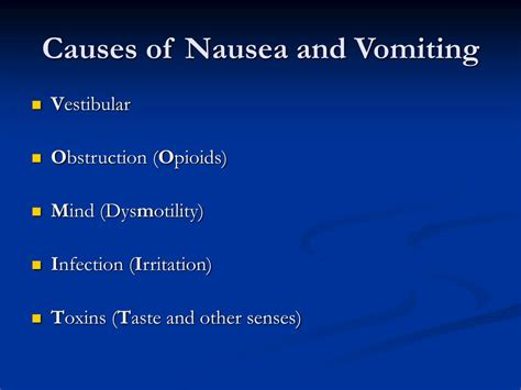 causes of vomiting ppt nausea and vomiting powerpoint presentation id 330224