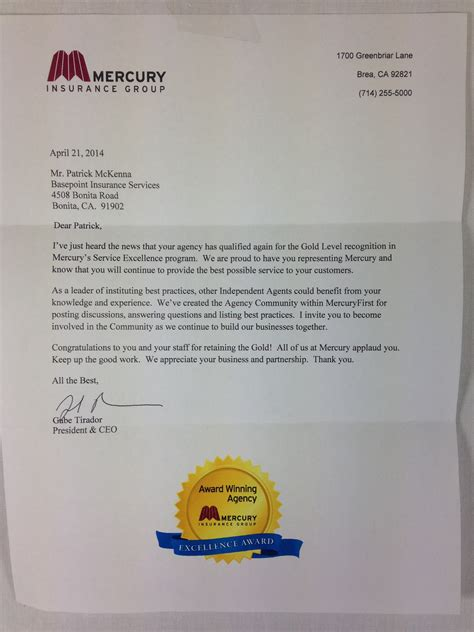 Insurance Agency Thank You Letter mercury insurance reaffirms basepoint s gold level status