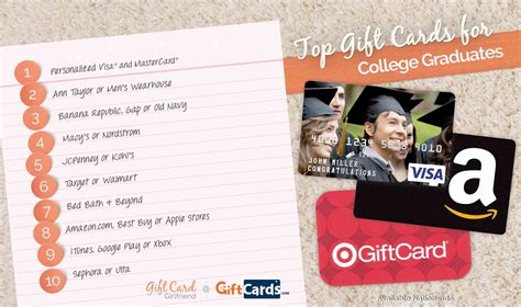 Top Gift Card Sites - top 10 gift cards for college graduates giftcards com
