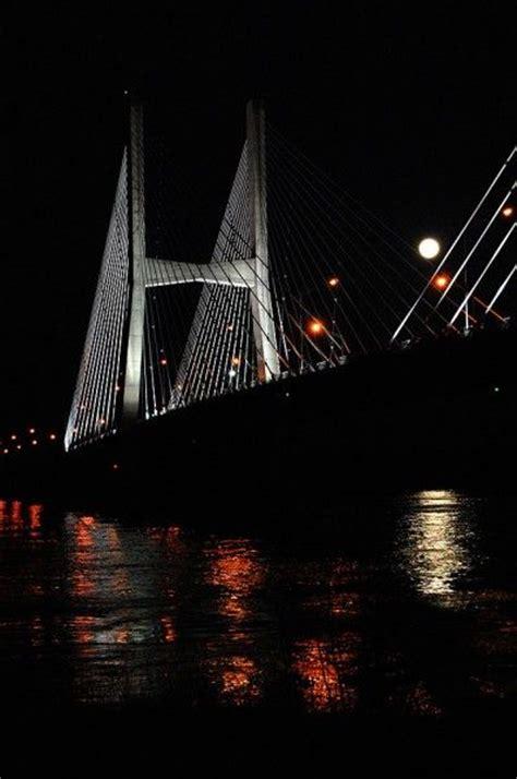 southfork lighting cape girardeau missouri moon rising over the bill emerson memorial bridge in cape