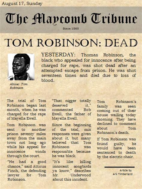 a newspaper tom robinson was in maycomb tkam