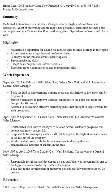 Auto Sales Manager by 1 Automotive General Sales Manager Resume Templates Try Them Now Myperfectresume