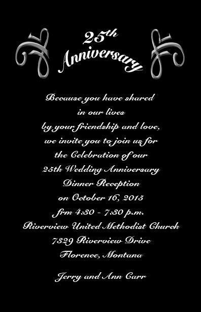 25th Wedding Anniversary Invitations Wording   Classic