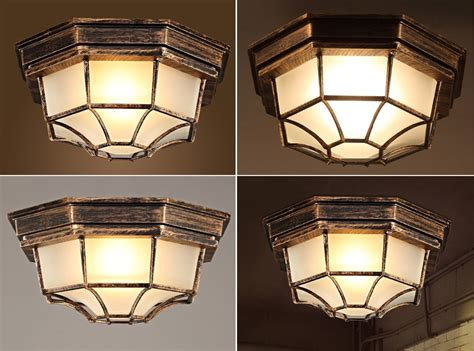 octagon ceiling light fixture industrial 1 light octagon iron and glass flush mount