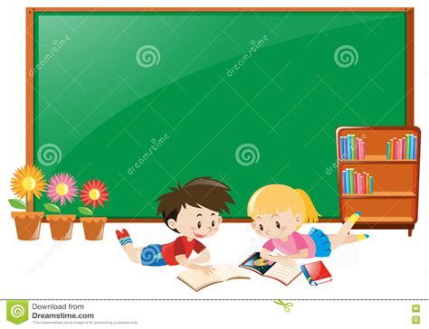 Child S Writing Desk Border Design With Children And Books Vector Illustration