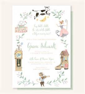 nursery rhyme baby shower invitation cow jumped the moon hey diddle diddle the cat and