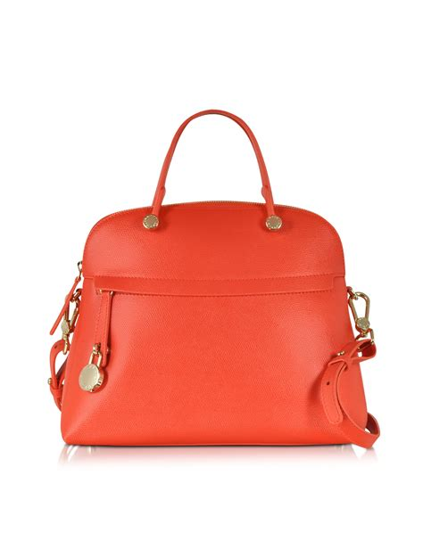 Furla Piper Dome Medium furla piper hibiscus medium leather dome bag in orange lyst