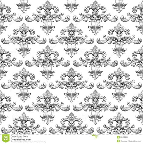 vintage leaf pattern vintage baroque damask seamless pattern vector stock
