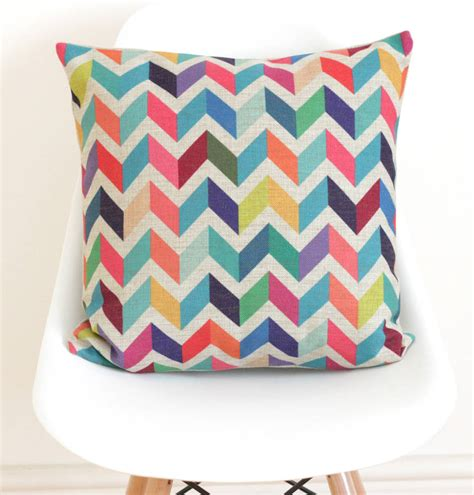 Geometric Pillow Covers by Geometric Chevron Cushion Cover By Quirkybee
