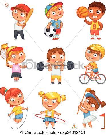 imagenes niños haciendo educacion fisica clipart vektor von sport fitness sport und fitness