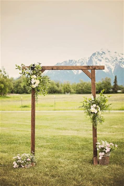 Wedding Arch Wooden scenic alaska inn wedding wooden arch white roses and