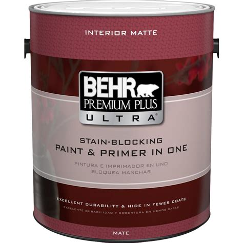 home depot interior paints behr premium plus ultra 1 gal ultra white matte interior paint and primer in one 175001