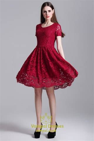 burgundy simple short sleeve   knee length lace