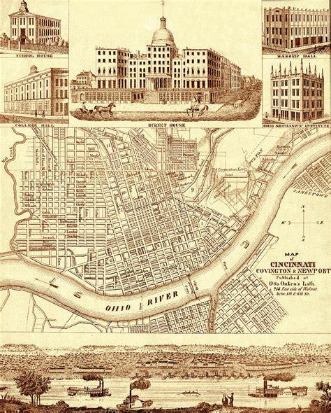vintage cincinnati map 1850 photograph by andrew fare