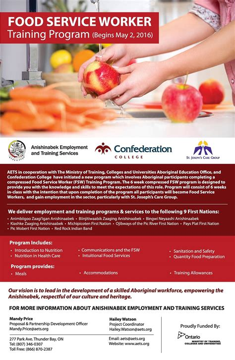 anishinabek employment services food service worker fsw program
