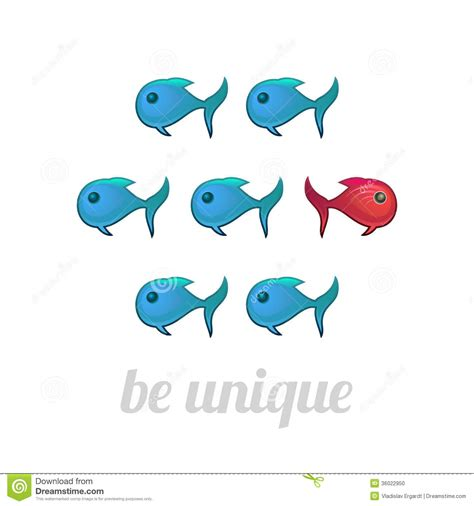 Be Unique be unique concept blue and fish isolated stock