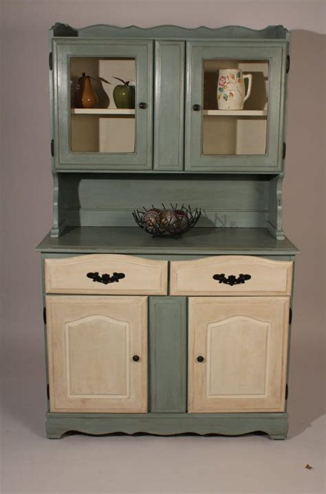 vintage farmhouse hutch and buffet with duck egg blue and
