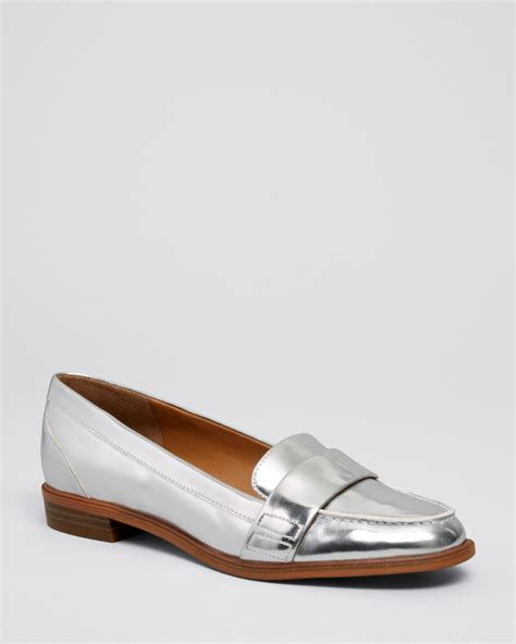 loafer flats for enzo angiolini loafer flats cinjin in silver lyst