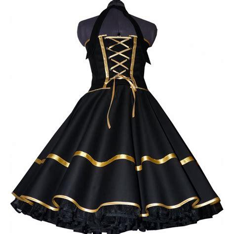 le schwarz gold festliches 50er kleid zum petticoat schwarz dekoltee gold