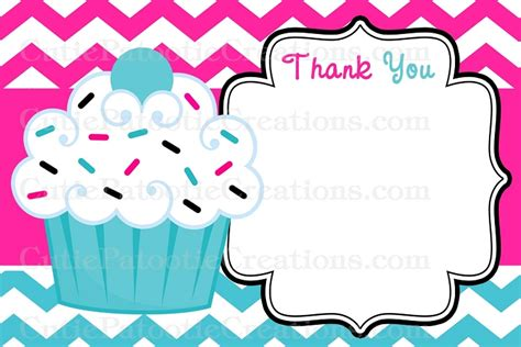 flat thank you card template cupcake thank you cards pink turquoise chevron print