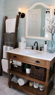 Loving this bathroom ladder for linens nice rustic but chic vanity