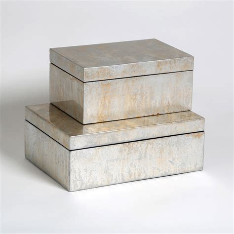 decorative boxes small studio a chagne small silver leaf box global views